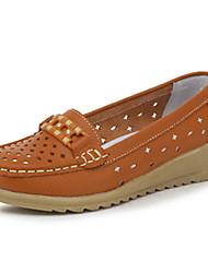 Коричневый / Желтый / Белый-Женский-На каждый день-Кожа-На плоской подошве-Удобная обувь-На плокой подошве