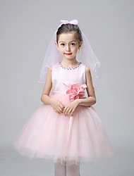 A-line Knee-length Flower Girl Dress - Cotton / Satin / Tulle Sleeveless Jewel with Crystal Detailing / Flower(s)