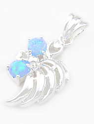 Fashion Luckyshine Blue White Fire Round Opal Gem 925 Silver Pendants for Necklaces For Wedding Daily  1pc