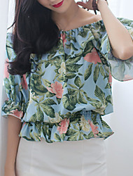 Women's Going out Sexy Summer Blouse,Floral Boat Neck ¾ Sleeve Blue / Green Cotton / Rayon / Polyester Thin