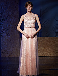 Formal Evening Dress - Sparkle & Shine Sheath / Column V-neck Floor-length Tulle Charmeuse Sequined with Sash / Ribbon Sequins