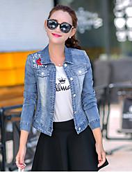 Vestes en JeanCouleur Pleine simple / Chic de Rue Printemps / Automne Manches Longues Col de Chemise Bleu Polyester Moyen