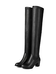 Damen-Stiefel-Kleid Lässig-Stretch - Satin Kunstleder-BlockabsatzSchwarz