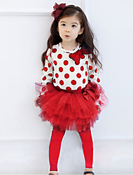 Girl's Cotton  Spring/Autumn Long Sleeve Bowknot Polka Dot Shirt And Lace Pantskirt Two-piece Set