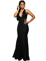 Women's Black Mesh Back Accent Mermaid Dress