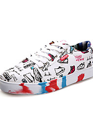 Women's Sneakers Spring / Fall Comfort Canvas Casual Flat Heel Lace-up Black / White / Multi-color Walking
