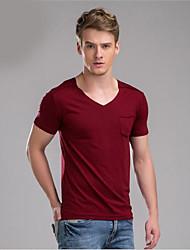 M. D® Hommes Col en V Manche Courtes T-shirt Noir / Blanc / Bourgogne-581