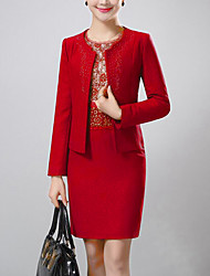 Women's Party/Cocktail / Plus Size Simple Sheath Dress,Jacquard Round Neck Above Knee Long Sleeve Red Polyester Fall Mid Rise