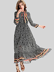 Women's Holiday Vintage Swing Dress,Print Stand Maxi ¾ Sleeve Gray Polyester Fall / Winter