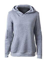 Women's Casual/Daily Street chic Regular Hoodies,Solid Gray Hooded Long Sleeve Cotton Spring / Fall Medium
