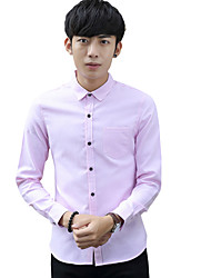 Summer/Fall Plus Sizes Men's Casual/Work Shirt Solid Color Standing Collar Long Sleeve Slim/Business Tops