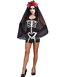Cosplay Costumes Ghost / Zombie Movie Cosplay Black Solid Dress / Headpiece Halloween / Christmas / New Year Female Polyester