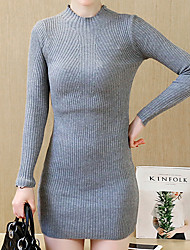 Women's Casual/Daily Simple Sheath Dress,Solid Turtleneck Above Knee Long Sleeve  Rayon Spring