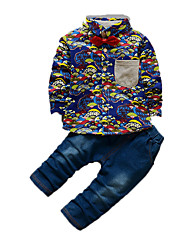 Boy's Casual/Daily Print Clothing SetCotton Fall Blue / Red