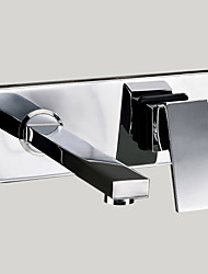 Contemporary / Modern Wall Mounted Waterfall with  Brass Valve Single Handle Two Holes for  Chrome , Bathroom Sink Faucet