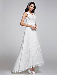 LAN TING BRIDE A-line Wedding Dress Floral Lace Asymmetrical V-neck Lace with Lace