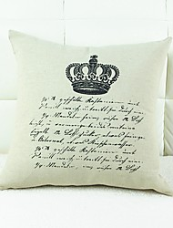 Crown Print Cotton/Linen Pillow Cover