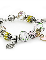 Retro Silver DIY Bead Strand Charm Bracelet with Heart Pendant