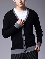 Men's Color Block Casual Cardigan,Cotton Long Sleeve Black / Gray