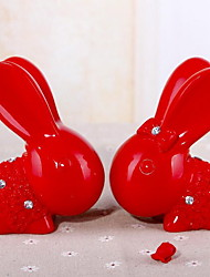 Resin Crafts Valentine Bunny Piggy Bank Home Decoration(A Set of 2)