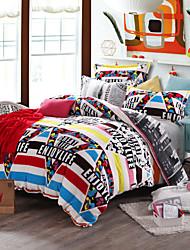 Striped Print Bedlinen Fleece winter bedding set queen king size soft bedsheet pillowcase Duvet cover 4pcs bed set