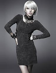 manga larga punky delirio q-211 de la vendimia de las mujeres / atractivo / impresión micro-elástico sobre el vestido de la rodilla (spandex)
