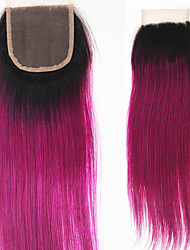 10''-22'' Rose Ombre Lace Top Closure Virgin Remy Brazilian Human Hair Extensions Medium Brown Swiss Lace 4*4inchs 50g