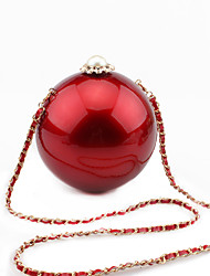 L.WEST Women's Handmade Pearl Diamond Acrylic Ball Evening Bag