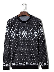 Men's Print Casual Pullover,Wool Long Sleeve Black / Blue / Green