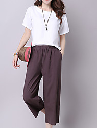 Women's Wide Leg Jeans Pants,Casual/Daily Simple Solid Cotton Micro-elastic Summer