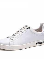 Черный Белый-Мужской-Для прогулок Повседневный Для занятий спортом-Кожа-На плоской подошвеКеды