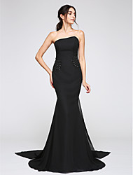 Mermaid / Trumpet Strapless Watteau Train Chiffon Formal Evening Dress with Beading by TS Couture®