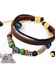 Fashion Popular Jewelry PU Leather Charm Bracelets Hand-woven rope Wood Beads Love Heart Pendant Bracelet Men Women