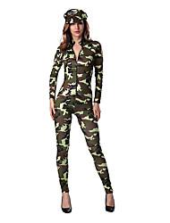 Disfraces de Cosplay Soldado/Guerrero Cosplay de Películas Verde Un Color Vestido / Sombrero Halloween / Navidad / Año Nuevo Mujer