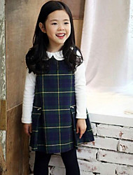 Girl's Casual/Daily Plaid Dress,Rayon Winter / Spring / Fall Green