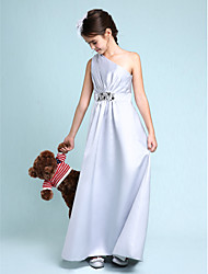 Lanting Bride® Floor-length Satin Junior Bridesmaid Dress Sheath / Column One Shoulder with Beading / Side Draping