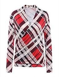 Women's Casual/Daily Vintage Fashion Slim Plaid Fall T-shirt,Plaid V Neck Long Sleeve Red