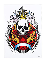 1pc Skull Bone King Fish Bird Pattern Body Art Temporary Tattoo Sticker for Women Men Arm Back Leg HB-422