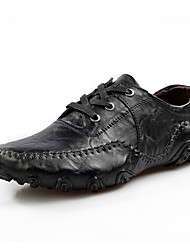 Men's Loafers & Slip-Ons Spring / Summer Comfort Cowhide Casual Flat Heel Slip-on Black / Brown Walking