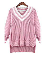 Damen Standard Pullover-Übergröße Einfach Solide Rosa Lila V-Ausschnitt Langarm Polyester Herbst Mittel Mikro-elastisch