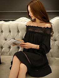 Women's Casual Vintage Shift Dress,Solid Boat Neck Above Knee ¾ Sleeve