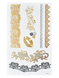 1pc Gold Silver Temporary Metallic Tattoo Waterproof Musical Note Sexy Lip Black Lace Rose GLS-002