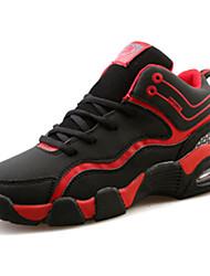 Feminino-TênisRasteiro-Azul Preto e Vermelho Preto e Branco-Couro Ecológico-Casual Para Esporte