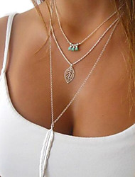 Women's Pendant Necklaces Layered Necklaces Crystal Alloy Feather Fashion Silver Jewelry Party Daily Casual 1pc
