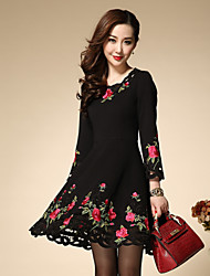 Women's Embroidery Boutique S Plus Size / Going out Chinoiserie Sheath Dress,Solid / Embroidered Round Neck Above Knee Long Sleeve
