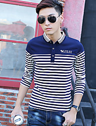 Men's Long Sleeve Polo,Cotton Casual Striped