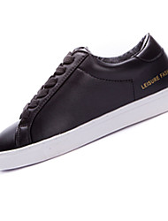Damen-Sneaker-Lässig / Sportlich-PU-Flacher Absatz-Rundeschuh-Schwarz / Weiß