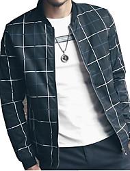 Herren Jacke Verziert Freizeit Baumwolle / Polyester Lang-Blau / Rot