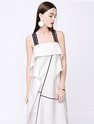 TAMMY ZAPFEN der Frauen sexy gestreifte lose Kleid, Riemen asymmetrische Polyester