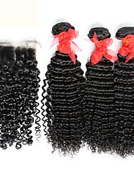 3 пучки бразильский вьющиеся волосы девственница с закрытием необработанного человеческого переплетения волос и бесплатным / средняя часть